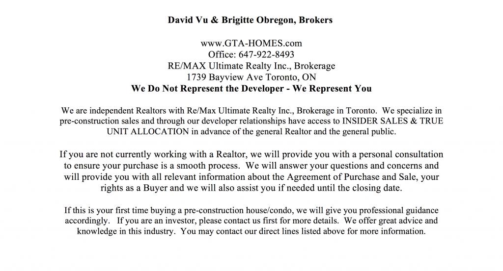 E2 Condos Sales Agents Contact Info